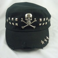 Black Military Hat with Skulls and Studs