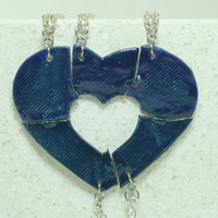 Friendship pendants Blue Stoneware Essential oil pendants Set of 5