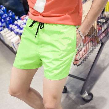 Men's Casual Drawstring Waist Mesh Line Beach Shorts