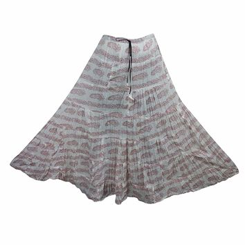 Mogul Interior Women's Full Flared Maxi Skirt White Printed Crinkle Boho Chic Skirts L: Amazon.ca: Clothing & Accessories