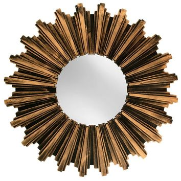 Kole Antiqued Bronze Sunburst Wall Mirror