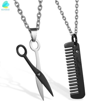 BONISKISS Lover's Couple Matching Pendant Scissors And Comb Necklace Crystal Accents With Chian