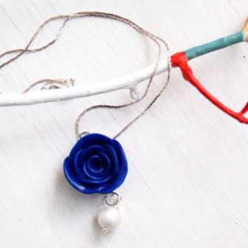Flower Rose  Necklace, White Pearl , Handmade Polymer Clay Necklace