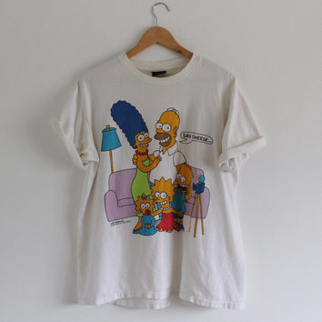 Vintage 80s Simpsons T shirt / Offical Simpsons Shirt / Bart Simpson / Homer Simpson / Marge Simpson / Front and Back Image / 1989