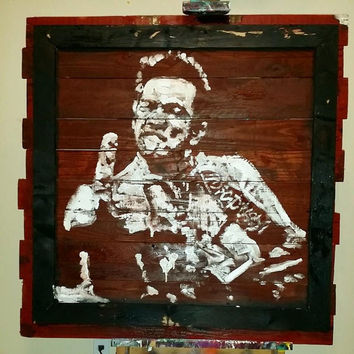 CUSTOM Wood Art Johnny Cash Reclaimed Wood Art Large Wall Art Large Wood Art Wood Wall Art Upcycled Wood Pallet Art Wall Decor Country Music