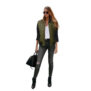 2016 Fashion Winter Flight 3Colors Jacket Ladies Women Coat Clothes Zipper Coat Women Cloths Chaquetas Mujer #SIW
