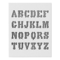 Alphabet Letters Logs ABC Art For Kids Faux Canvas Print