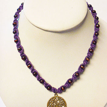 Purple Tree of Life  Hemp Necklace    hippie   handmade macrame jewelry