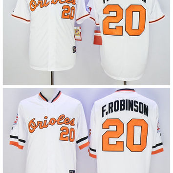 Throwback 20 Frank Robinson Jersey Baltimore Orioles Retro Frank Robinson Baseball Jerseys Cool Base Alternate White Top Quality On Sale