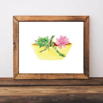 Succulent art, drawing & illustration, succulent print, wall art print, watercolor art, art prints, plants, kitchen decor, garden decor