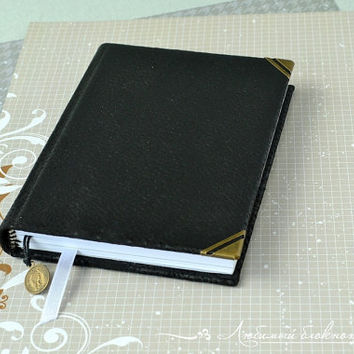 Leather notebook Leather covered notebook Leather journal Leather travel journal Leather Diary Blank book Black pocket notebook Blank pages