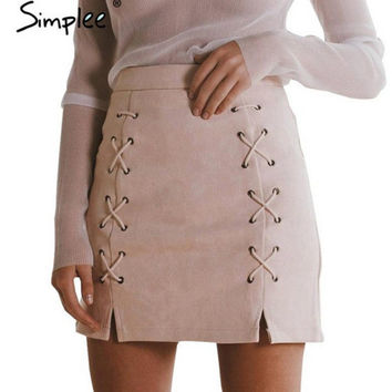 Women Vintage Retro High Waist Suede Skirt [11241432527]