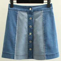 Blue Splice High Waist Bottons Front Denim Skirt