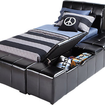 Zoey Black 4 Pc Twin Storage Bed
