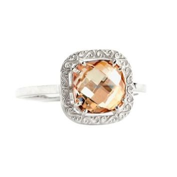 Suzanne Kalan Sterling Silver 8mm Cushion-Cut Champagne Topaz Filigree Bezel Ladies' Ring