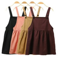 4 Color Women Spring Summer Harajuku Overalls Dresses School Cute Style High Waist Solid Strap Kawaii Casual A-Line Dress