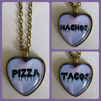 Fast Food Heart Cameo Necklace - Pizza Tacos Nachos