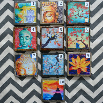 Fine Art Coasters, you pick 4, zen, drink coaster, slate, stone, buddha, asian, distressed, made to order