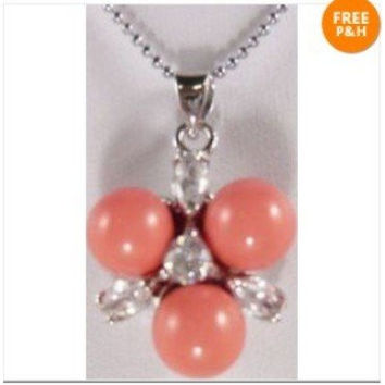 Coral jade bead pendant necklace