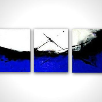 Blue canvas art - Comtemporary painting -  Art deco blue - Abstract painting - Blue art abstract - Black white blue painting - Triptych