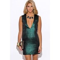 Emerald Green Cocktail Mini Dress