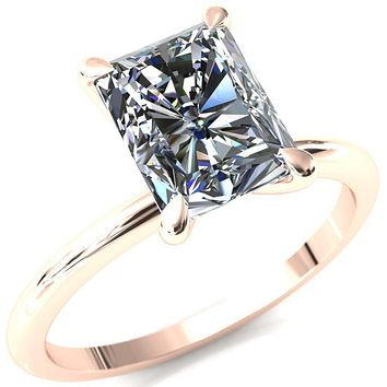 Gracey Radiant Moissanite 4-Claw Prong Engagement Ring