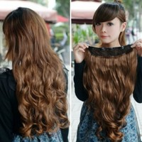Vktech Width 25cm Lady Sexy Stylish Long Curl Wavy Clip-on Hair Extension (Light Brown)