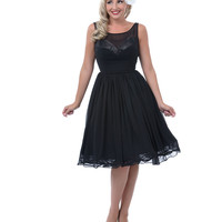 Unique Vintage Black Avedon Sheer Lace Overlay Swing Dress