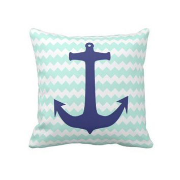 Trendy Chic Mint Chevron Blue Anchor Pillow from Zazzle.com