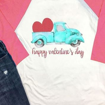 White Red Patchwork Heart Car Print Happy Valentine's Day T-Shirt