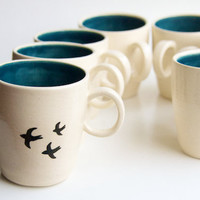 Ceramic Mug, Black Birds in Teal- Swallow design pottery by RossLab