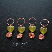 Stitch markers Knitting Copper Green love heart shape beads handmade wire wrapped Gifts Christmas Luxe Style