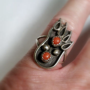 Bear Footprint Ring Size 7 Native American Style Silver Ring Red Stone Coral Bear Fetish Ring Ships Free