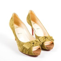 HCXX Light Olive Green Christian Louboutin Suede Peep Toe Bow Pumps