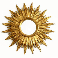 Vintage Sunburst Mirror - Starburst Gold Convex Mirror