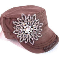 Cadet Hat with Rhinestone - Brown