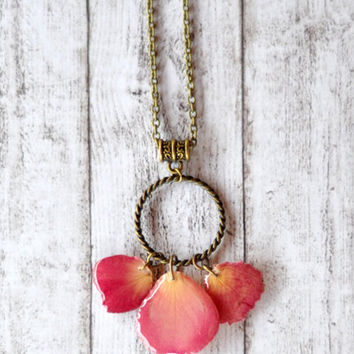Pink Rose Petals Necklace - Real Flower Pendant - Resin Jewelry - Unique Statement Necklace