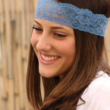 Blue Lace Headband, Elastic Headband, Thin Style Headband, Stretchy Lace, Turban Head Wrap, Handmade Headband, Headbands, Hair accessory