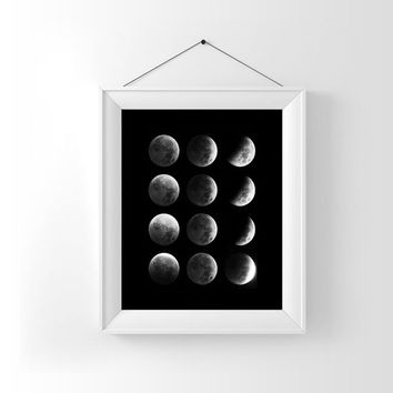 Black White Moon Phases Art Digital Art Download Digital Print Canvas Art Art Print Large Painting Instant Download 8x10