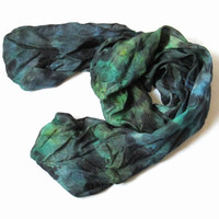 Silk Scarf ruffled Hand Dyed Jade Green-blue Grass-green Black Ocher New design