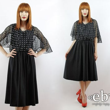 Vintage 70s Black Polka Dot Sheer Cape Dress XL 1X Plus Size Vintage Plus Size Dress Black Dress Polka Dot Dress Disco Dress