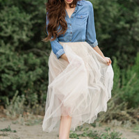 Carly Denim Button Down Top