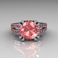 Modern Vintage 14K White Gold 3.0 Carat Morganite Solitaire Ring R102-14KWGMO