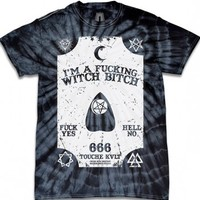 """Ouija Witch Bitch"" Tee by Touche Kvlt (Tie Die)"