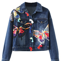 Deep Blue Light Wash Butterfly Patches Long Sleeve Denim Jacket