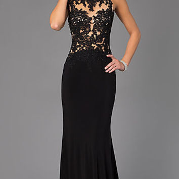 Floor Length Sleeveless Madison James Dress with Lace Bodice