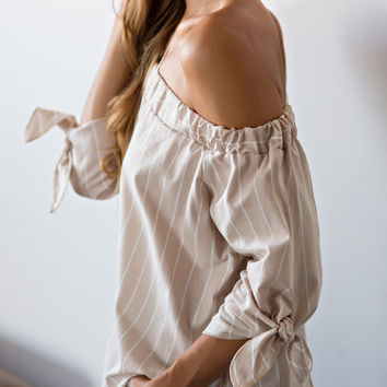 Georgie Beige Striped Off the Shoulder Top
