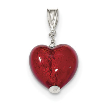 Sterling Silver Gold & Ruby Murano 12mm Glass Heart Pendant QP2553