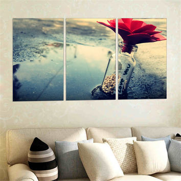 Cavas Painting Loving Bottle Flower Oil Picture Poster Wall Painting Home Decoration Modern Valentine's Day Gifts No Frame 3pcs