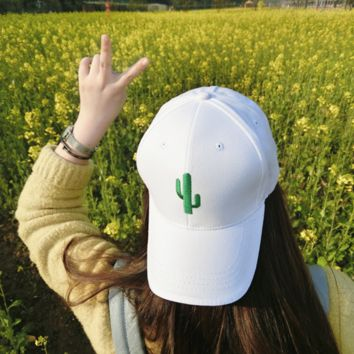 Cute Cotton Baseball Cap Cactus Embroidered Plain Hat Cap